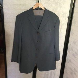 Hobo Boss grey blue wool suit 44R